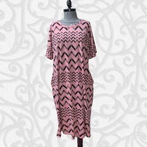 LuLaRoe Marly Long Dress Pockets 2XL Pink Black